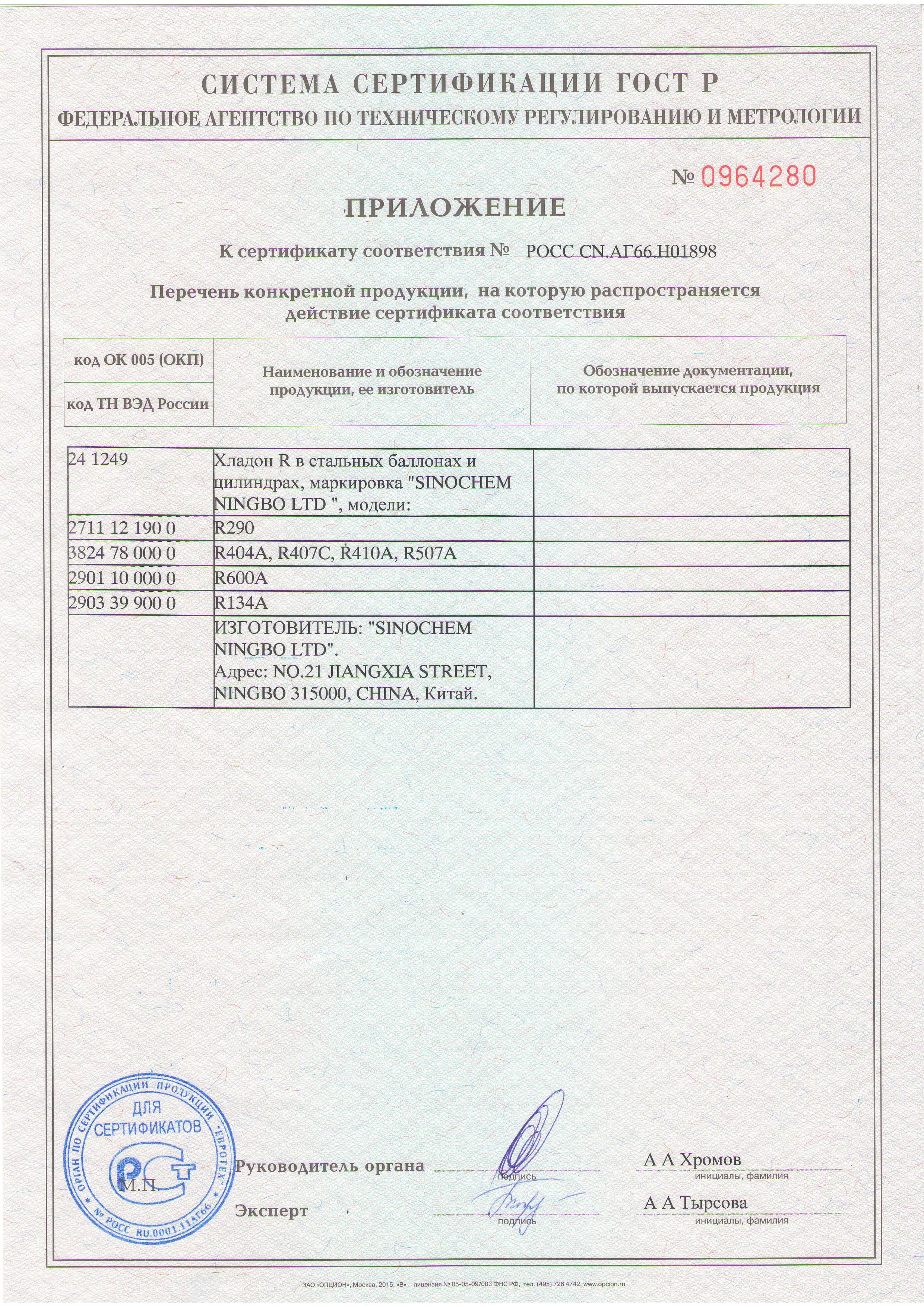 сертификат хладон