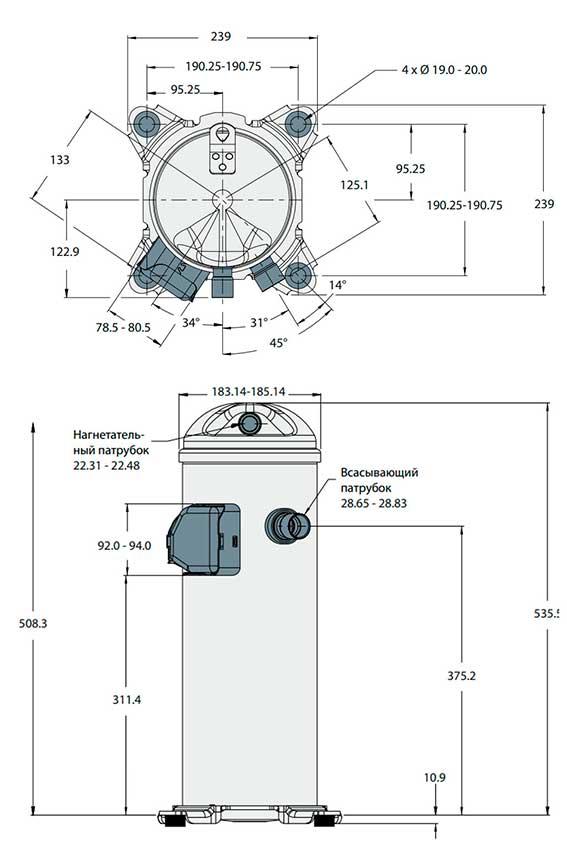 Характеристики компрессора HLJ121T4LC6