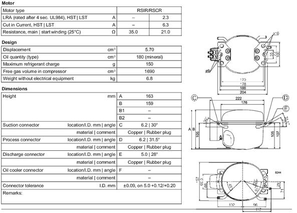 Чертеж компрессора HVY57AT