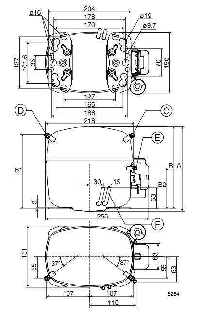 Чертеж компрессора SC12G