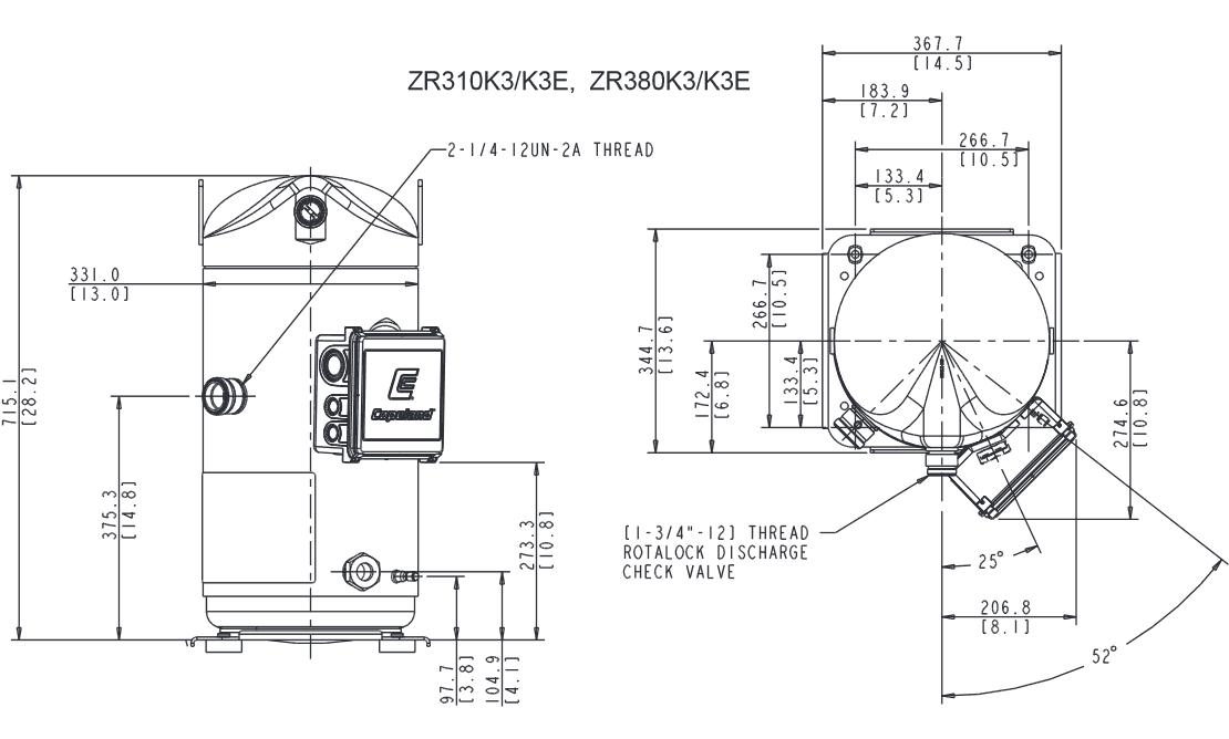 Чертеж компрессора ZR380KCE-TWD-523
