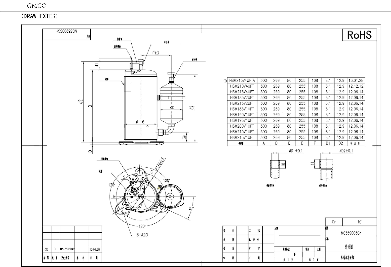 GMCC HSM215V4UFT характеристики