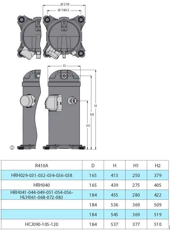 Характеристики компрессора HRH029U4LP6