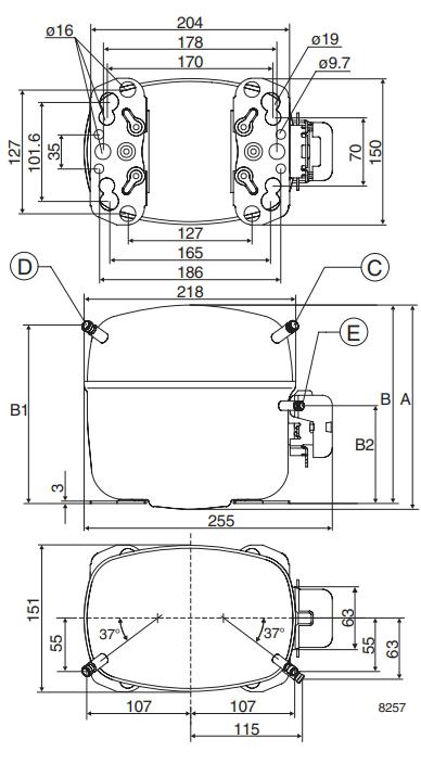 Чертеж компрессора SC18MLX.3