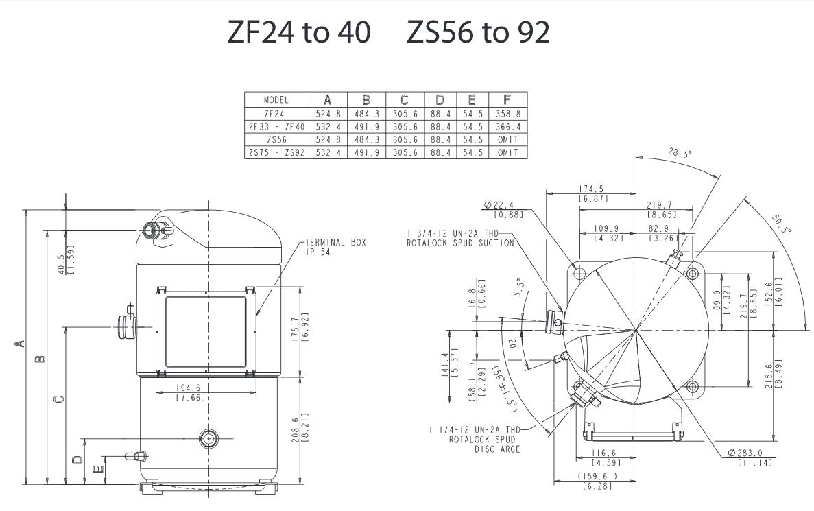 Чертеж Копланд ZF25К6E-TFDN-567
