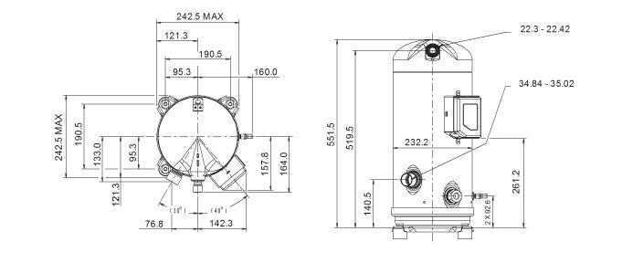 Чертеж компрессора ZR190KCE-TFD-455