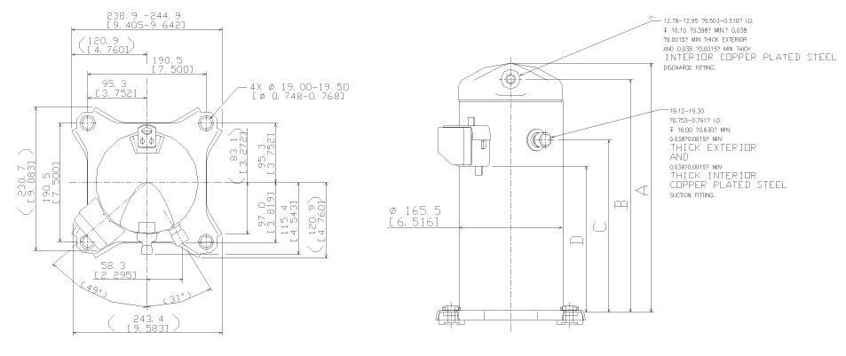 Чертеж Копланд ZR28К3E-TFD-522