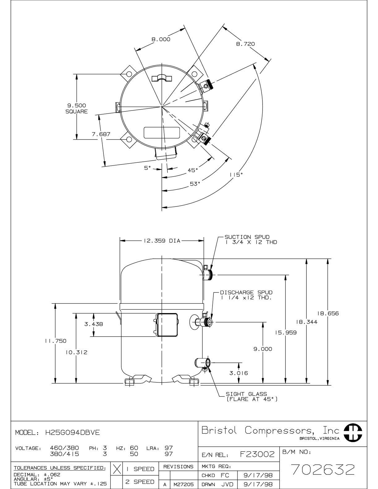Bristol H25G094DBVE характеристики