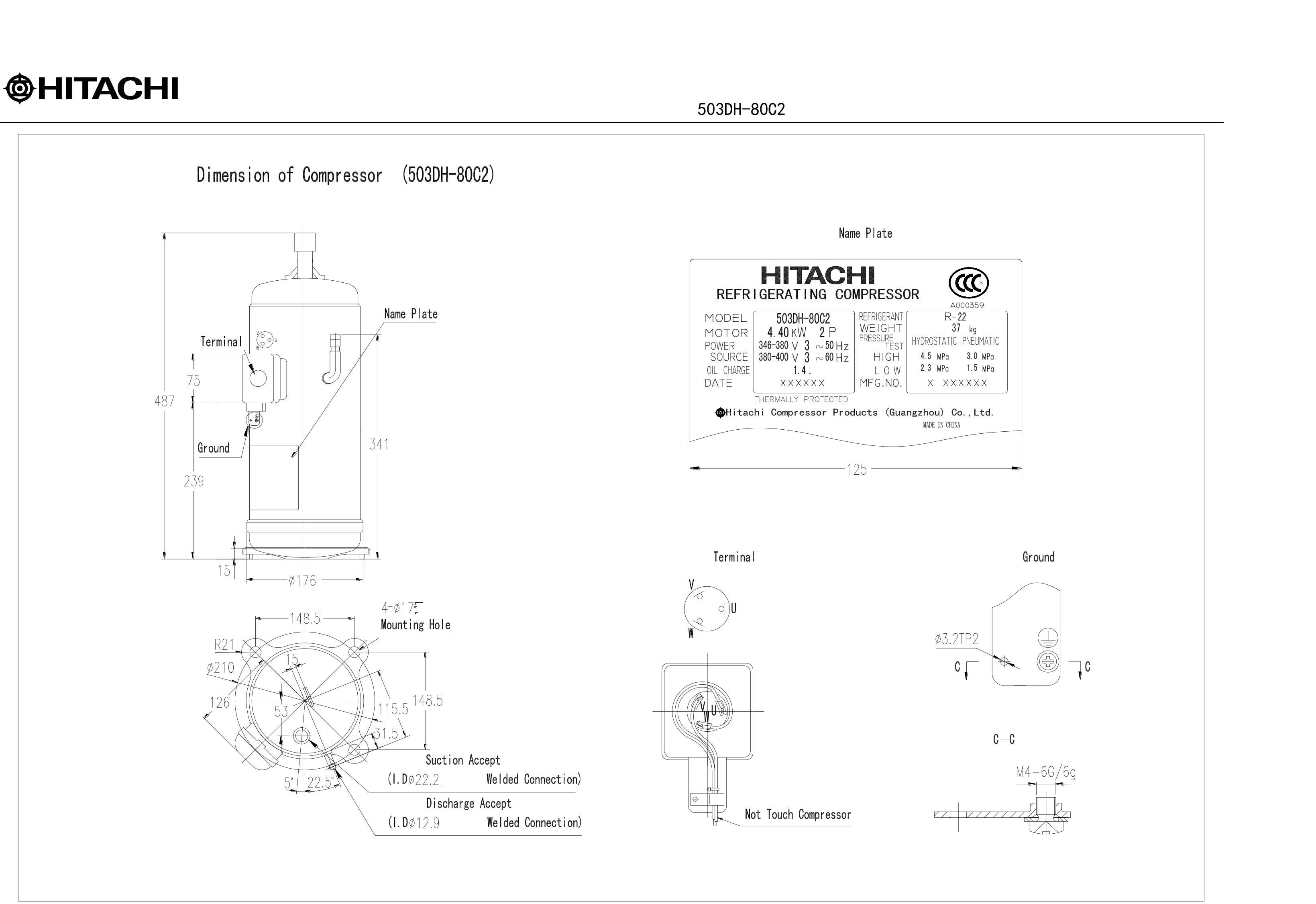 Hitachi 503DН-80C2 характеристики
