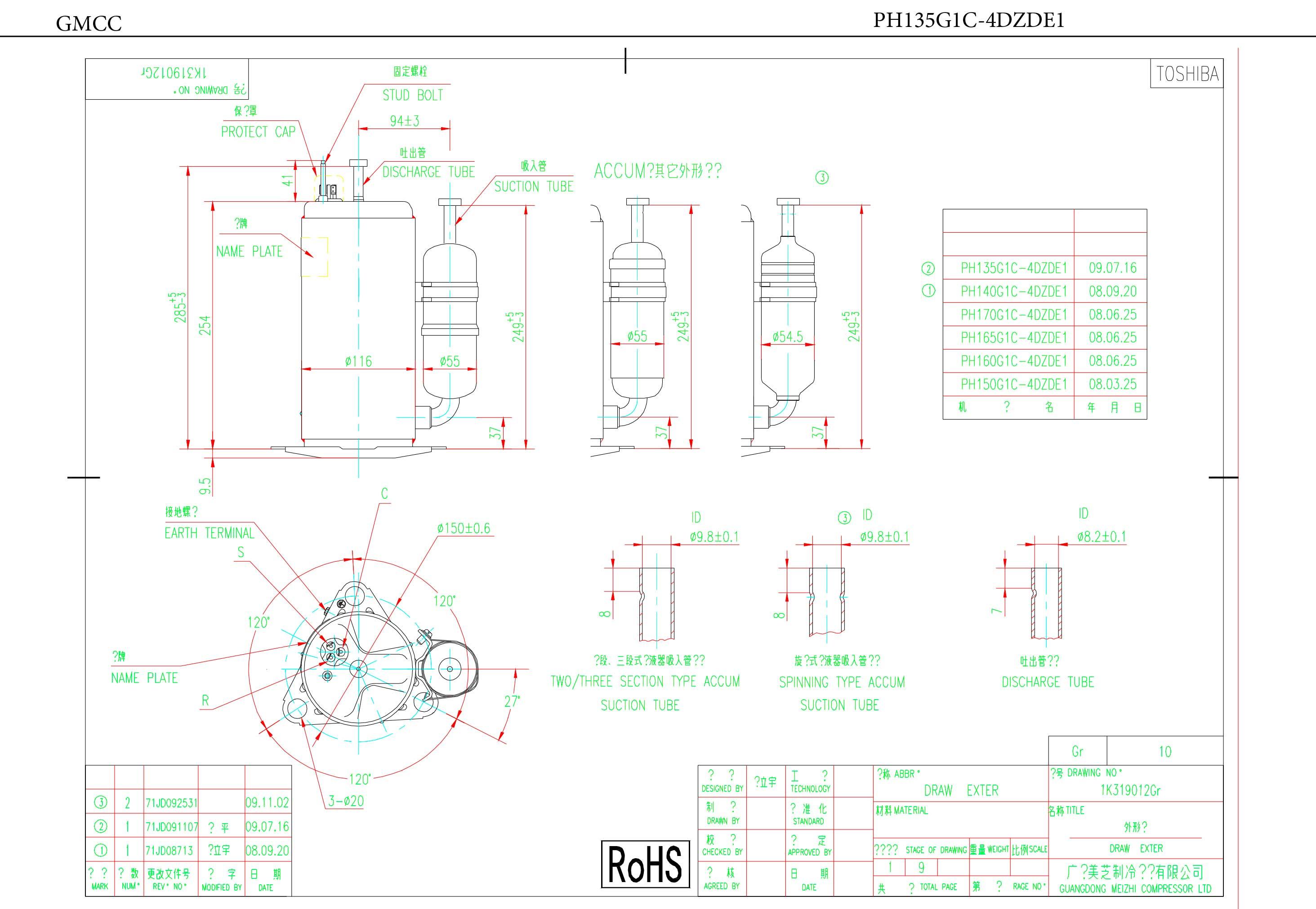 GMCC PH135G1C-4DZDE1 характеристики