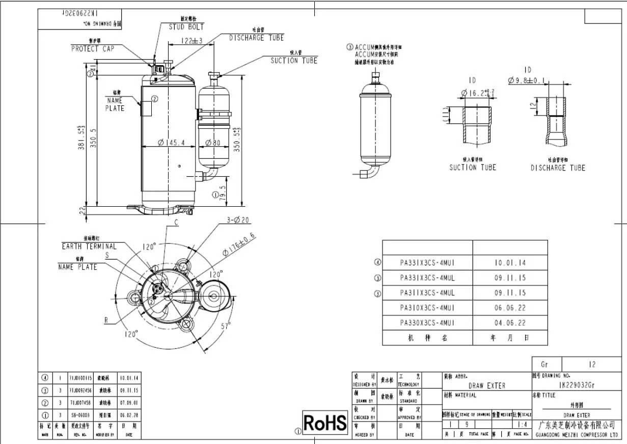 GMCC PA330X3CS-4MU1 характеристики