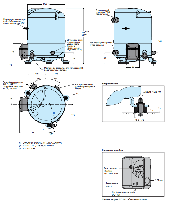 Maneurop MTZ22JC4AVE характеристики