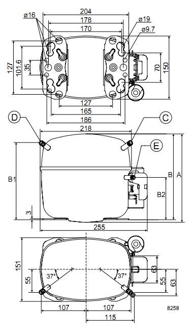 Чертеж компрессора SC12C