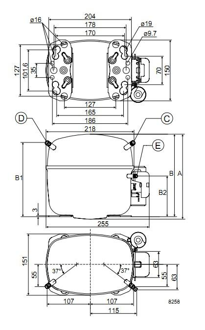 Чертеж компрессора SC12CL