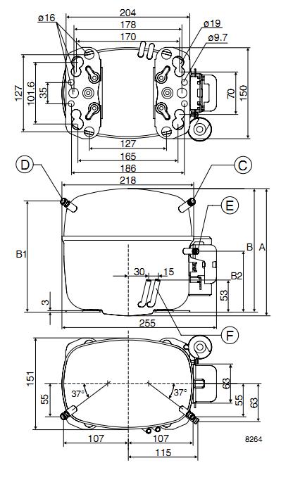 Чертеж компрессора GTK55AT