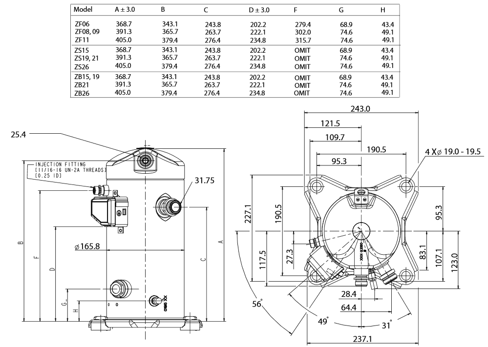 Чертеж Копланд ZF09К4E-TFD-556