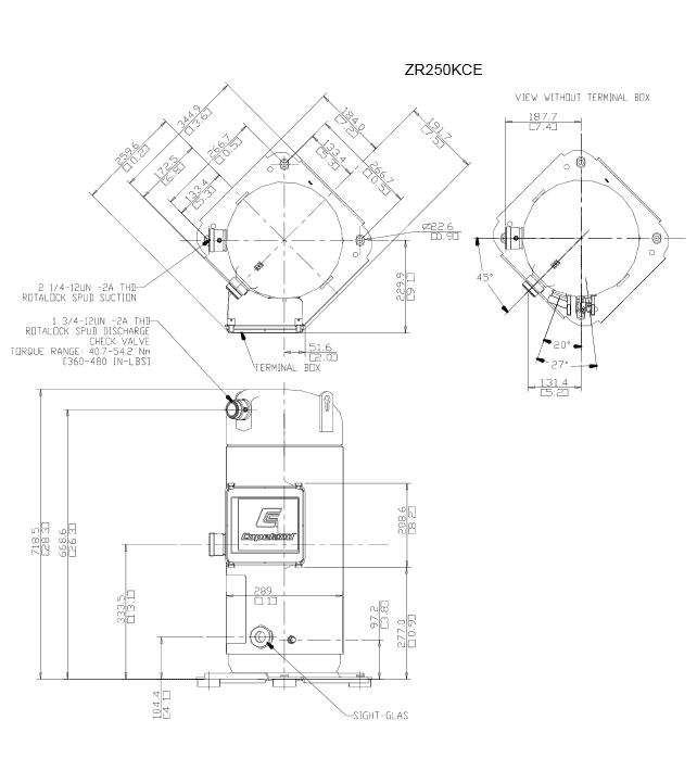 Чертеж компрессора ZR250KCE-TWD-523