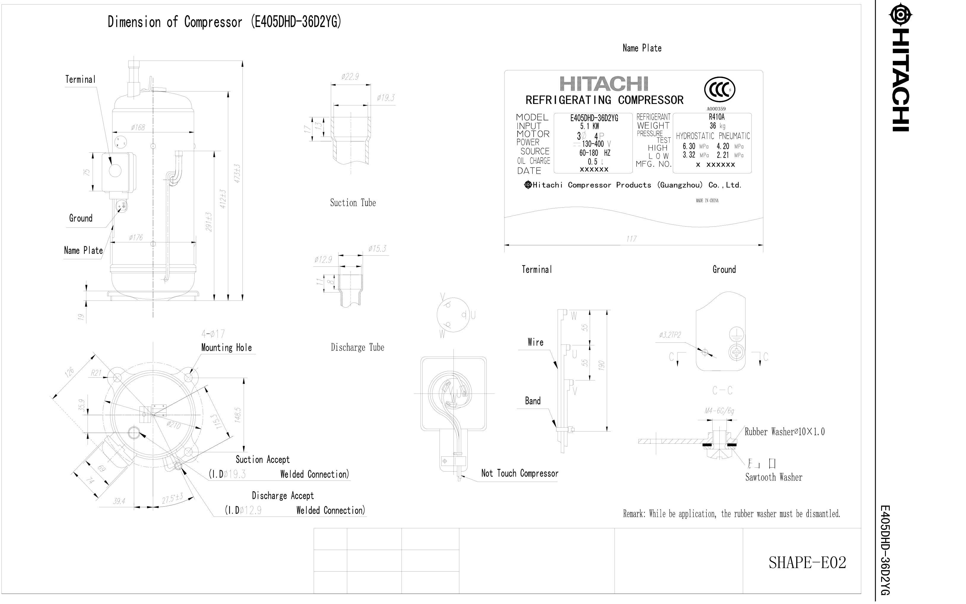 Hitachi E405DHD-36D2YG характеристики