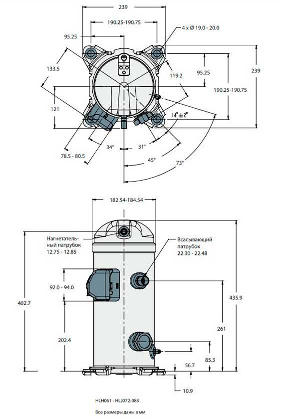Характеристики компрессора HLJ072T4LC8