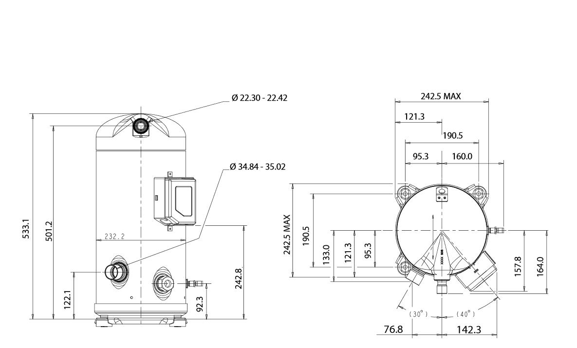 Чертеж Копланд ZR94KCE-TFD-455